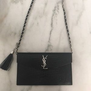 YSL Uptown Pouch in Black Croc embossed Leather